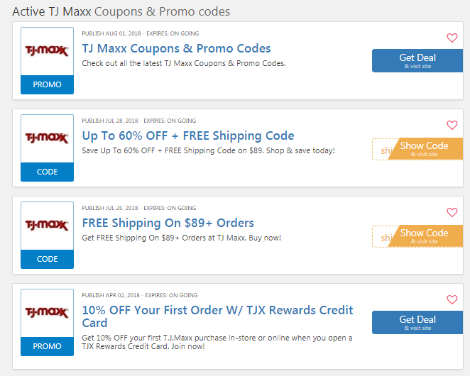 TJ Maxx coupons codes