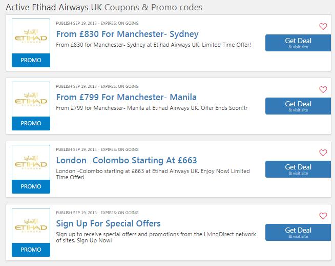 Etihad Airways UK coupons