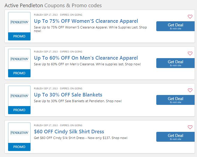 Pendleton coupons