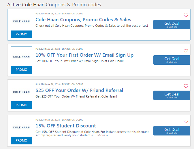 9da54c503a2 Cole Haan 10% OFF First Order: 30 OFF Extra Coupon Code