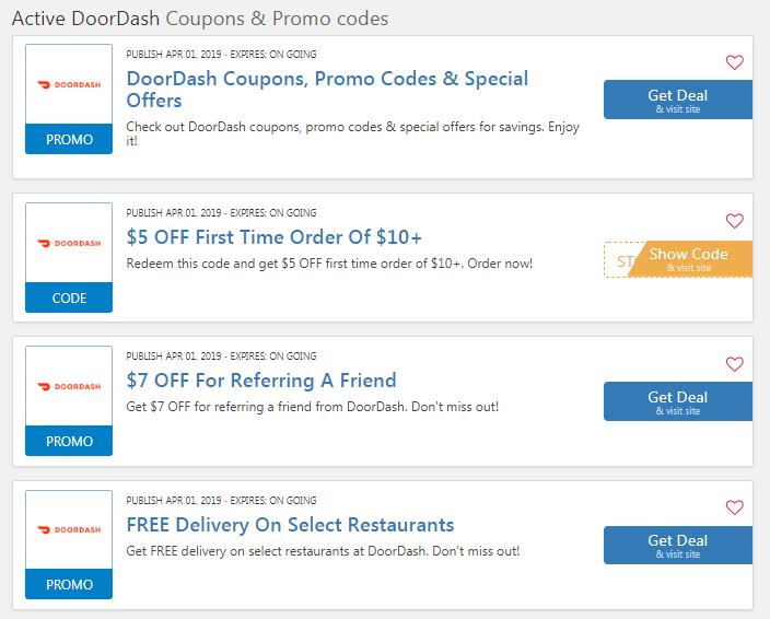 current doordash coupons