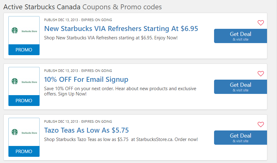 starbucks coupon code canada