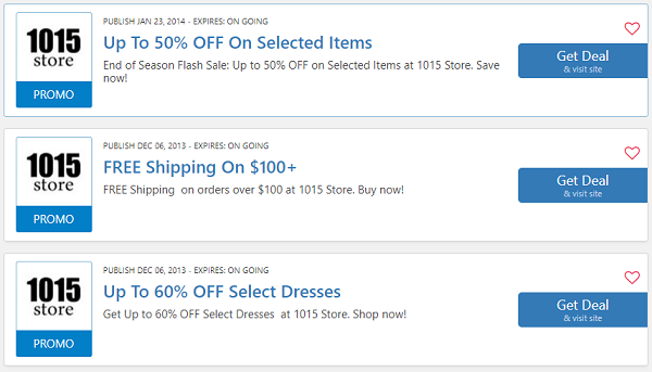 1015 Store coupon codes