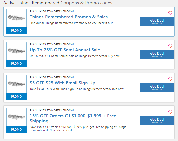 Extra 30% off with Things Remembered promo codes and coupon codes
