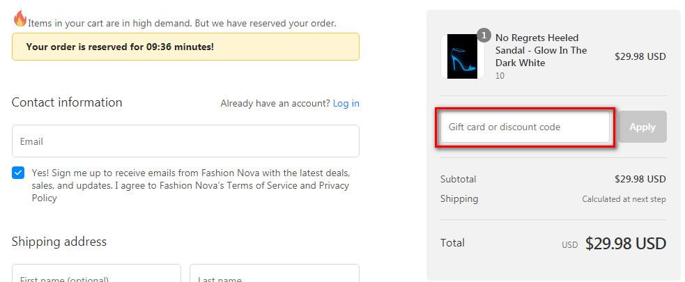 fashion nova promo code free shipping